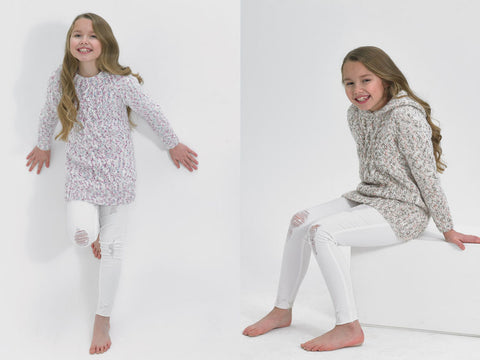 Girls Sweater & Hoodie in James C. Brett Tranquil Chunky (JB491)
