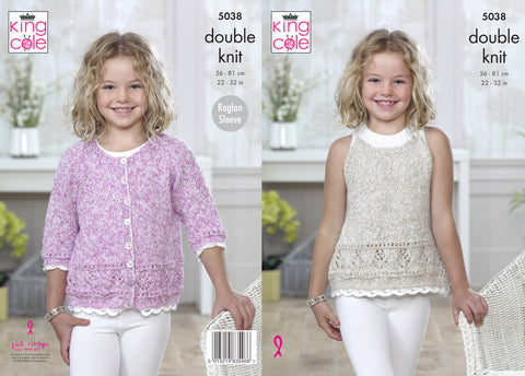 Childrens Cardigan & Top in King Cole Calypso DK (5038)
