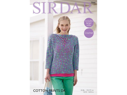Top in Sirdar Cotton Prints DK (7944) - Yarn and Pattern