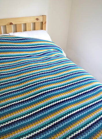Ric Rac Blanket - Deramores Studio DK - Ocean View Colour Pack