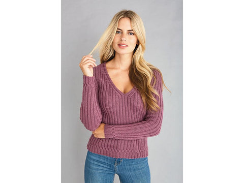 Sara V-Neck Sweater in Patons Diploma Gold DK