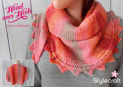 Sawtooth Edge Crescent Shawl in Stylecraft Head over Heels