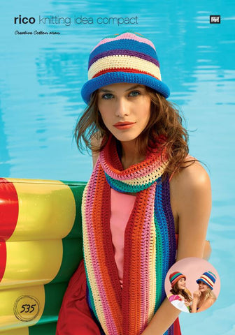Scarf and Hats in Rico Creative Cotton Aran - 535