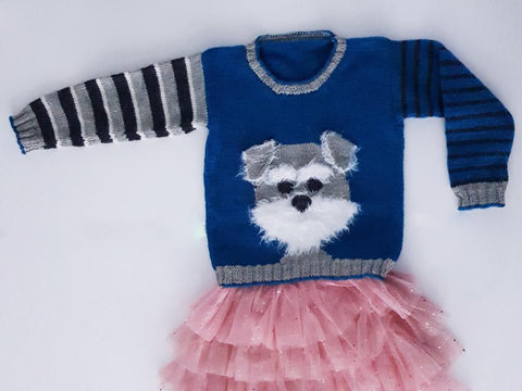 Bertie the Schnauzer Sweater by Jane Burns in King Cole Merino Blend DK & James C. Brett Faux Fur