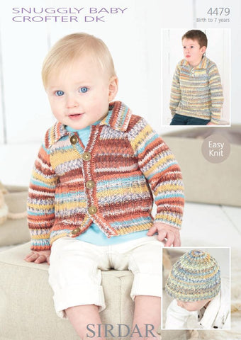 Cardigan, Sweater and Hat in Sirdar Snuggly Baby Crofter DK (4479) - Digital Version