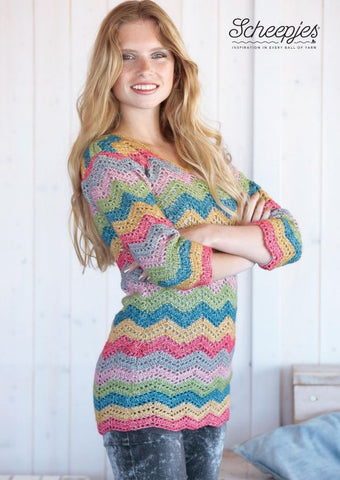 Pullover Crochet Kit and Pattern in Scheepjes Yarn