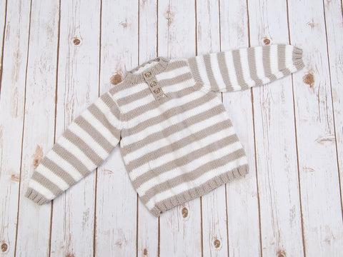 Striped Button Neck Sweater in Deramores Studio Baby DK