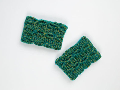 Twisted Vine Wristwarmers by Zoë Potrac in Scheepjes River Washed