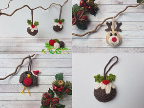 Christmas Pudding, Robin & Reindeer Tree Decorations by Crafty Cruella in Deramores Studio DK