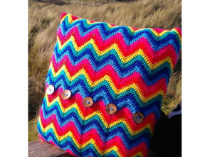 Zigzag Rainbow Crochet Cushion Cover by Sarah Murray Crochet Kit and Pattern Stylecraft Yarn