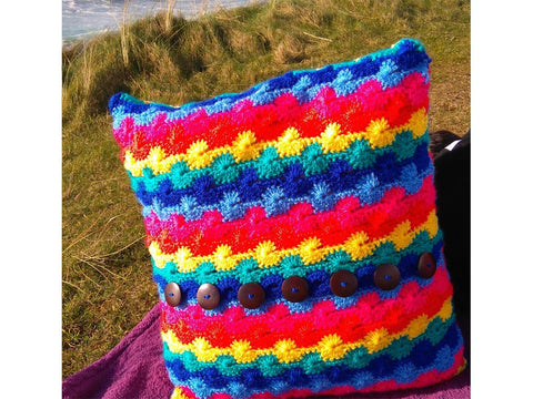 Wave Rainbow Crochet Cushion Cover Crochet Kit and Pattern in Stylecraft Yarn
