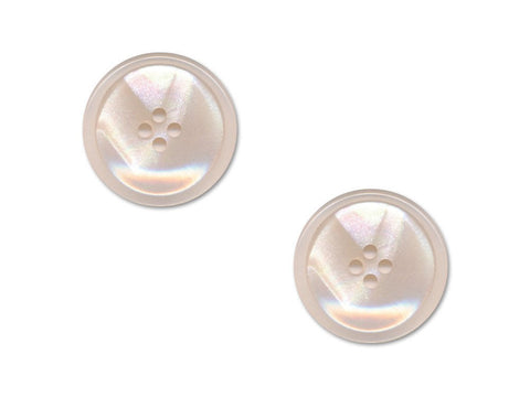 Rimmed Round Pearlescent Buttons - Pink - 397