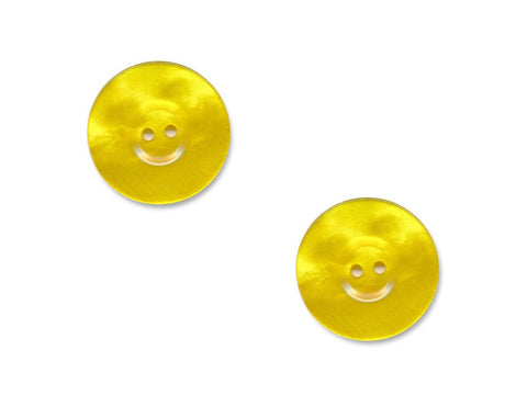 Pearlescent Thick Rimmed Round Buttons - Yellow - 924