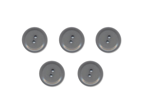 Rimmed Round Buttons - Grey - 1002