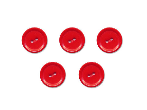 Rimmed Round Buttons - Red - 1088