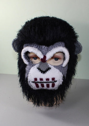 Toddler, Child and Adult Ape Mask Balaclava by MadMonkeyKnits (1047) - Digital Version