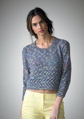 Sweater with Sideways Cabled Panel at Lower Section in Araucania Huasco (AY029)