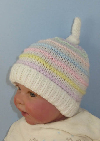 Baby Candy Stripe Topknot Beanie Hat by MadMonkeyKnits (831) - Digital Version