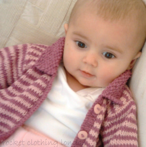 Baby Cardigan Mini Stripe by Linda Whaley - Digital Version