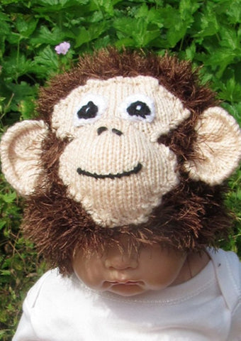Baby Monkey Beanie Hat by MadMonkeyKnits (326) - Digital Version