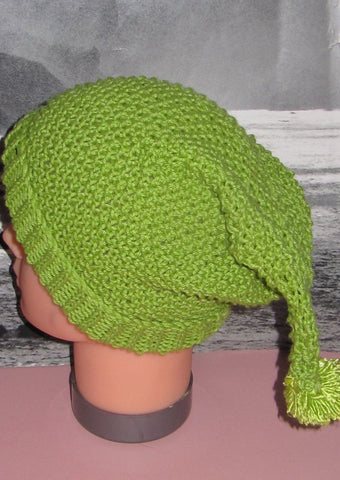 Baby Moss Stitch Pixie Bobble Slouch Hat by MadMonkeyKnits (434) - Digital Version