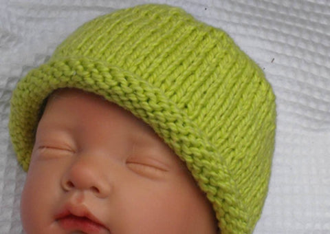 Baby Roll Brim Beanie Hat by MadMonkeyKnits (1) - Digital Version
