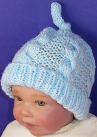 Baby Simple Cable Topknot Beanie Hat by MadMonkeyKnits (817) - Digital Version