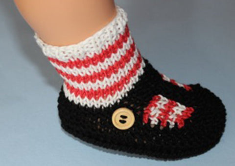 Baby Stripe Sock and T Bar Sandal Booties by MadMonkeyKnits (1036) - Digital Version