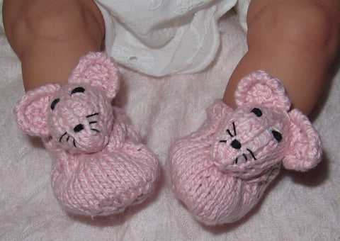 Baby Sugar Mouse Shoes by MadMonkeyKnits (319) - Digital Version
