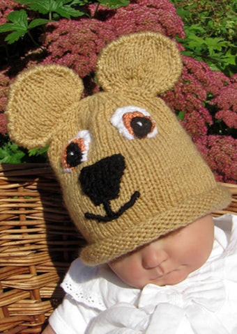 Baby Teddy Bear Beanie Hat by MadMonkeyKnits (411) - Digital Version
