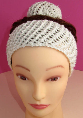 Ballerina Beaded Easy Lace Headband and Bun Cover by MadMonkeyKnits (738) - Digital Version