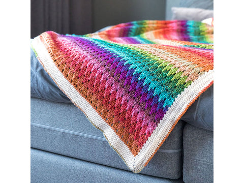 Larksfoot Rainbow Blankets by Haak Maar Raak in Scheepjes Stone Washed & River Washed