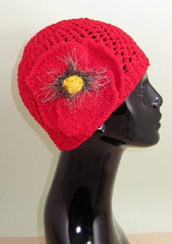 Big Poppy Chunky Lace Skullcap Hat by MadMonkeyKnits (620) - Digital Version