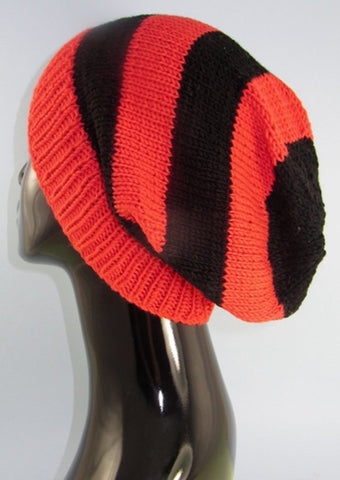 Big Stripe Slouch Hat by MadMonkeyKnits (706) - Digital Version