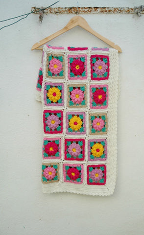 Vintage Flower Blanket Kit Crochet Kit and Pattern in Stylecraft Yarn