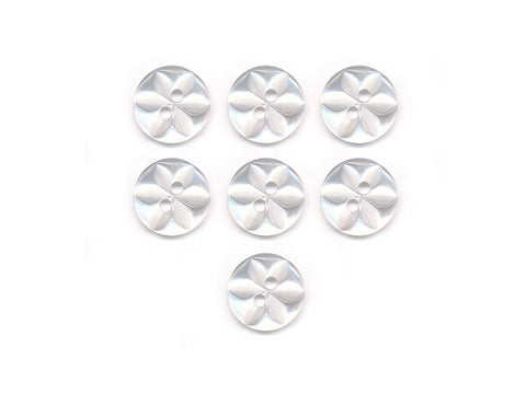 Round Flower Effect Buttons - Clear - 002