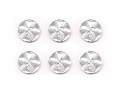 Round Flower Effect Buttons - Clear - 003