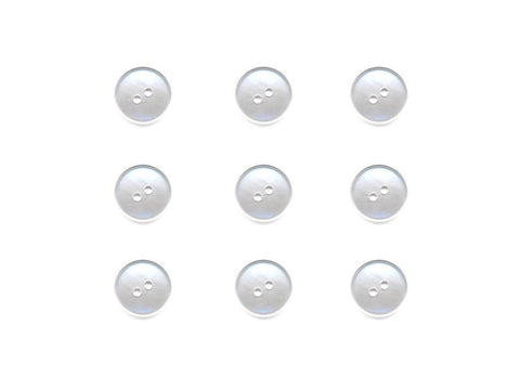 Round Rimmed Pearl Effect Buttons - White - 008