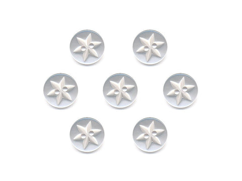 Round Flower Effect Buttons - White - 016