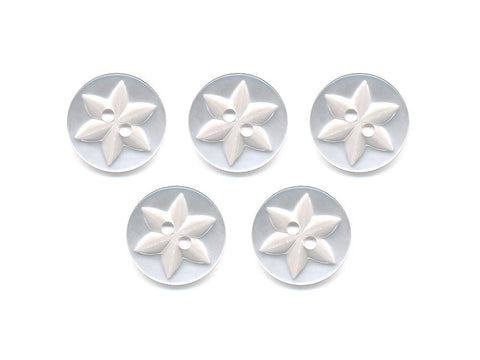Round Flower Effect Buttons - White - 018