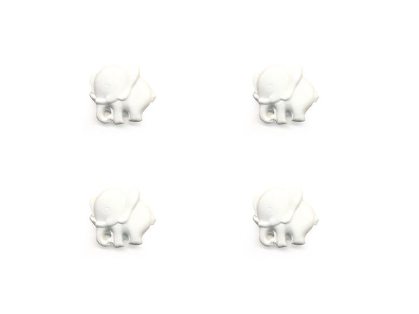 Elephant Shaped Buttons - White - 029
