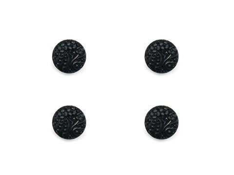 Round Textured Design Buttons - Black - 1025
