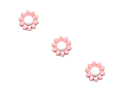 Flower Buttons - Pink & White - 104