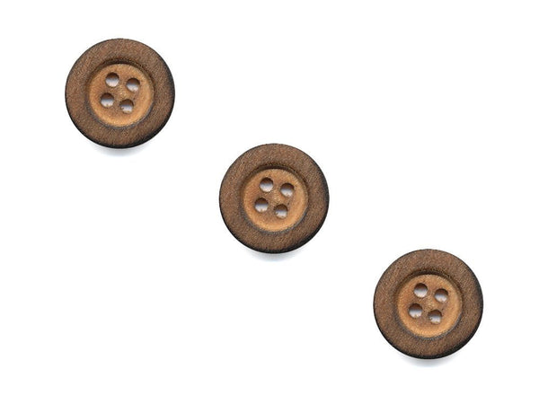 Round Thick Rimmed Wooden Buttons - 1054