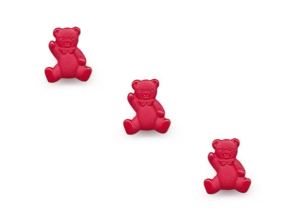 Teddy Bear Shaped Buttons - Red - 108