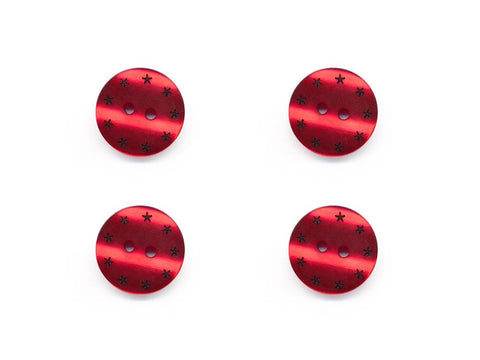 Round Pearl Effect Star Print Buttons - Red - 116