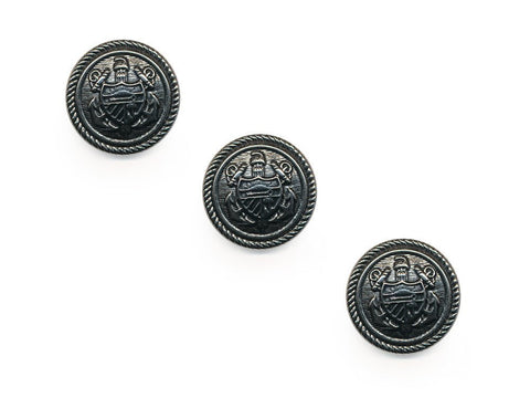 Shield Detail Metal Buttons - Silver - 135