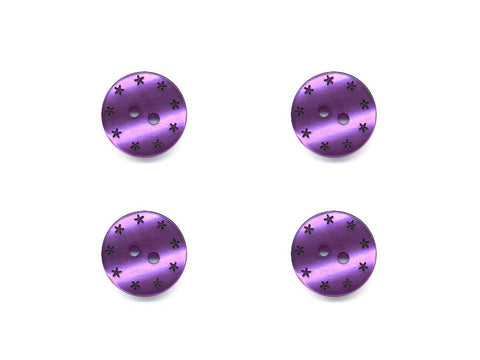 Round Pearl Effect Star Print Buttons - Purple - 184