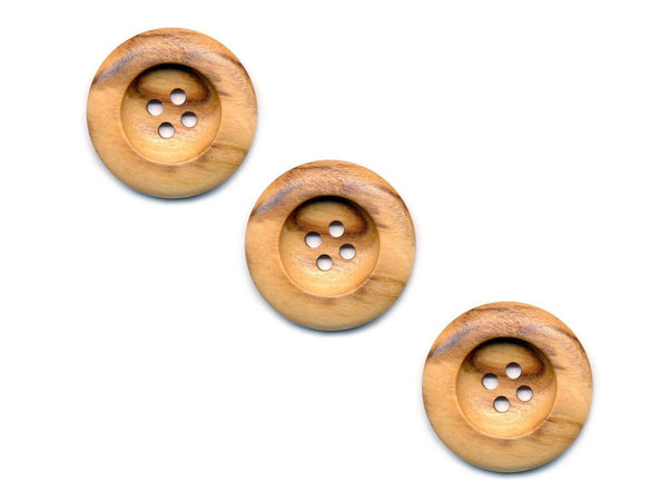 Round Thick Rimmed Wooden Buttons - 262