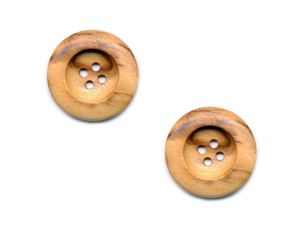 Round Thick Rimmed Wooden Buttons - 263